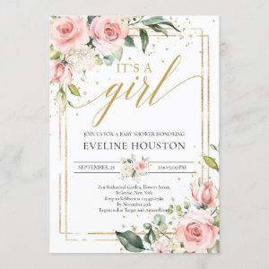 Bohemian blush pink floral gold it's a girl baby invitation