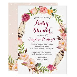 Bohemian Feather Boho Floral Wreath Baby Shower Invitation
