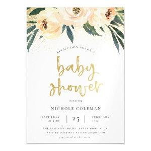 Bohemian Pink & Gold Baby Shower Magnetic Invitation