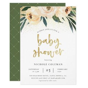 Boho Blush Pink & Brushed Gold Script Baby Shower Invitation