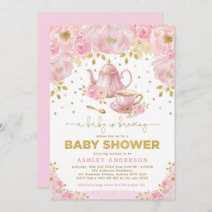 Boho Blush Pink Gold Baby Shower Tea Party Invitation