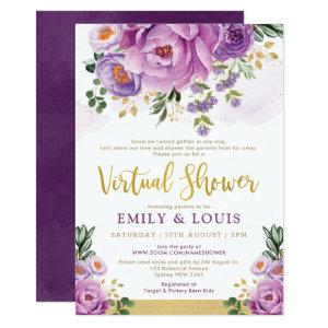 Boho Botanical Purple Floral Virtual Baby Shower Invitation