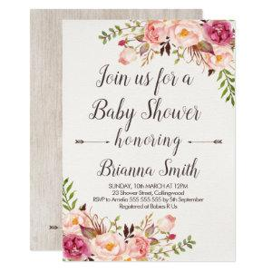 Boho Calligraphy Floral Baby Shower Invitation