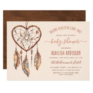 Boho Chic Dream Catcher Rustic Tribal Baby Shower Invitation