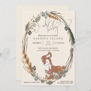 BOHO Deer and Fawn Baby Shower Invitation