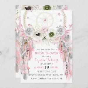 Boho Dream Catcher Feathers Pink Gray Ivory Invitation