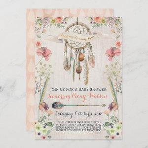 Boho Dream Catcher Rustic Baby Shower Invitations