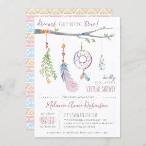 Boho Dream Catcher Tribal Feathers Virtual Shower Invitation