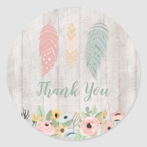 Boho Feathers Thank You Classic Round Sticker