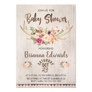 Boho Floral Antlers Baby Shower Invitation