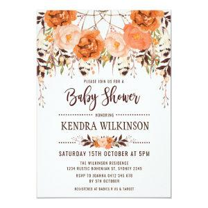 Boho Floral Autumn Baby Shower Invitation Rustic