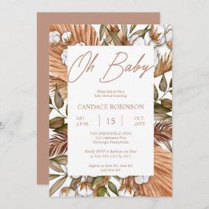 Boho Floral Cotton | Dried Grasses Baby Shower Inv