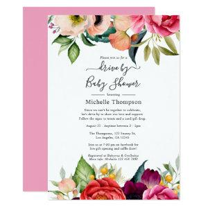 Boho Floral Drive By Bridal or Baby Shower Invitation