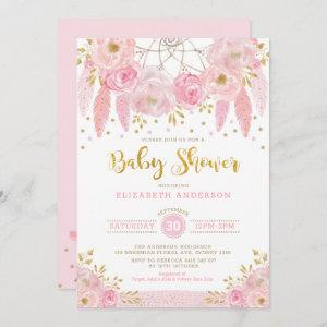 Boho Pink and Gold Dreamcatcher Floral Baby Shower Invitation