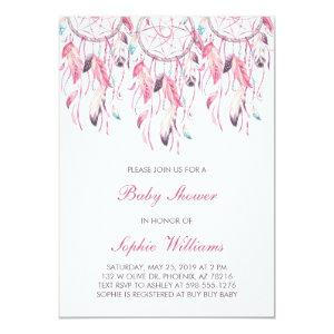 Boho Pink Dreamcatcher Baby Shower Invitation