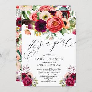 Boho Pink Purple Floral It's a Girl Baby Shower