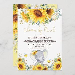 Boho Sunflower Elephant Baby Shower By Mail Invitation