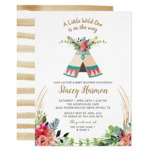 Boho Tribal Wild One Rustic Floral Baby Shower Invitation
