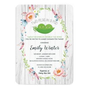 Boho Two Peas in a Pod Twins Baby Shower Invitation