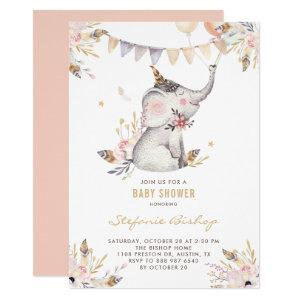 Boho Watercolor Elephant Floral Baby Shower Invitation