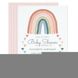 Boho Watercolor Rainbow Baby Shower Coral Invitation