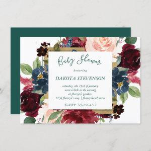 Bold Floral   Botanical Watercolor Baby Shower
