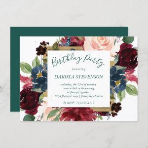 Bold Floral   Botanical Watercolor Gold Birthday