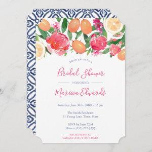 Bold Florals Citrus & Spanish Tiles Bridal Shower Invitation
