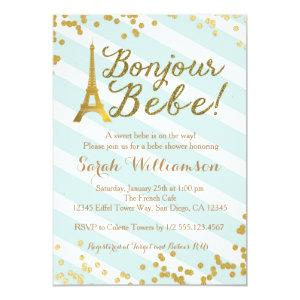 Bonjour Bebe Paris Green Baby Shower Invitation