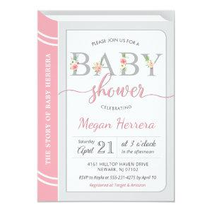 Book Library Building Baby Girl Shower Chic Pink Invitation