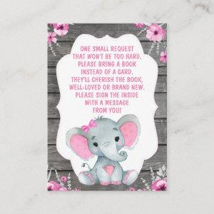 Book Request Card Girl Elephant Shower