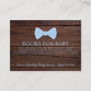 Book Request Little Man Baby Shower Rustic Bowtie Enclosure Card