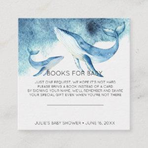 Book Request | Watercolor Whale Baby Shower Insert