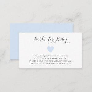 Books for Baby Cute Blue Heart Boy Baby Shower Enclosure Card
