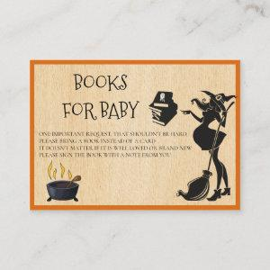 Books for Baby Halloween Pregnant witch Shower Enclosure Card