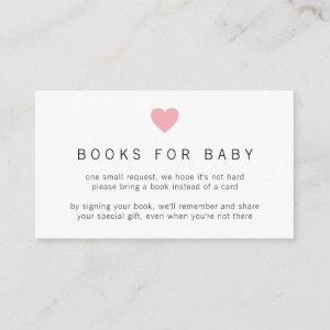 Books for Baby Pink Heart Simple Girl Baby Shower Enclosure Card