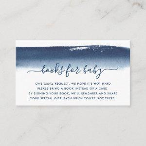 Books for Baby Shower Boy Navy Blue Watercolor Enclosure Card