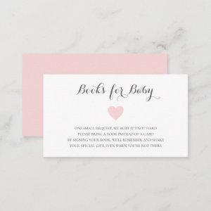 Books for Baby Shower Cute Pastel Pink Heart Girl Enclosure Card