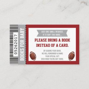 Books For Baby, Sports, Football Baby Shower, Red Enclosure Card