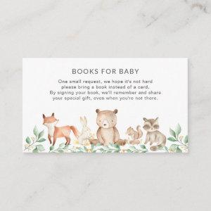 Books for Baby Woodland Animals Cute Baby Shower Enclosure Card