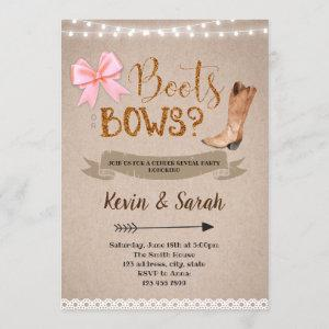 Boots or bow gender reveal party invitation