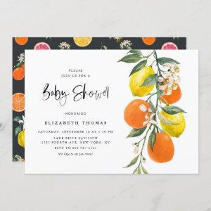 Botanical Lemons and Oranges Garland Baby Shower Invitation