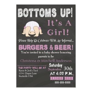 Bottoms Up Baby Shower Invitation (Pink)