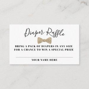 Bow Tie Diaper Raffle Ticket, Gold Faux Glitter Enclosure Card