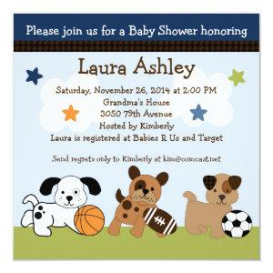 Bow Wow Puppy Dogs & Sports Baby Shower Invitation