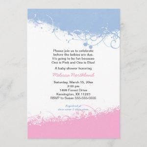 Boy and Girl Twins Baby Shower Invites