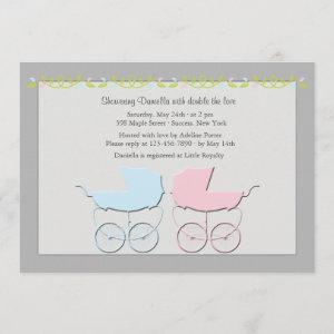 Boy and Girl Twins Gray Baby Shower