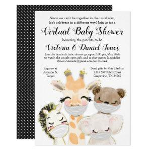 Boy Baby Animals Mask Covid Drive By Baby Shower Invitation