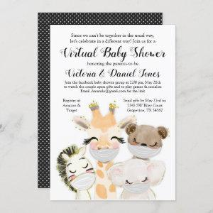 Boy Baby Animals Mask Covid Drive By Baby Shower