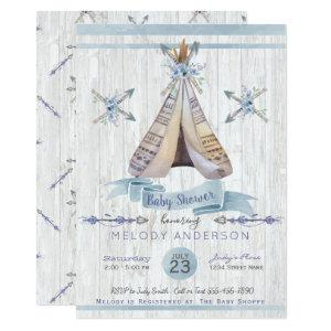 Boy Baby Blue Shower Boho Chic Teepee & Arrows Invitation